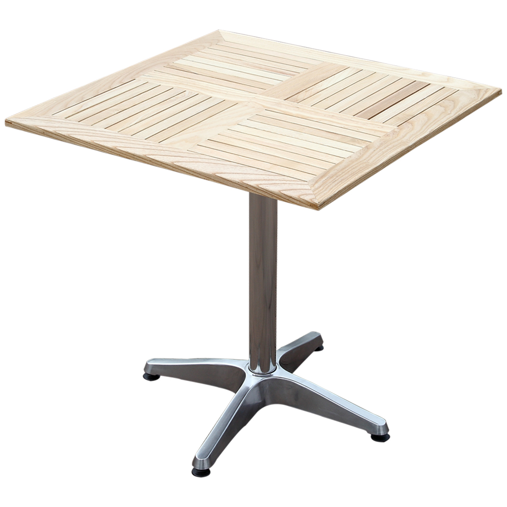 Square Wooden Table with Aluminium Support